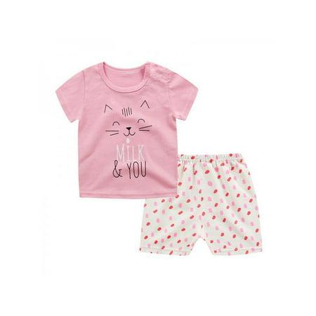 2pcs Baby Boys Girls Cute Cartoon Printed Short Sleeve T-shirts+Shorts Outfits - Cartoon Outfit