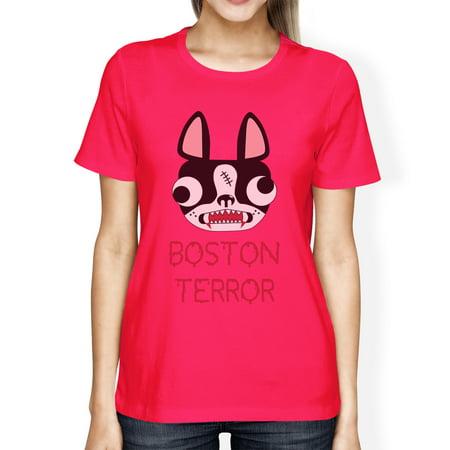 Boston Terror Terrier Womens Halloween Tshirt Hot Pink Cotton Tee