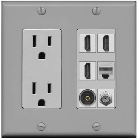 RiteAV Power Outlet 3 HDMI Coax Cat5e Toslink Wall Plate - -