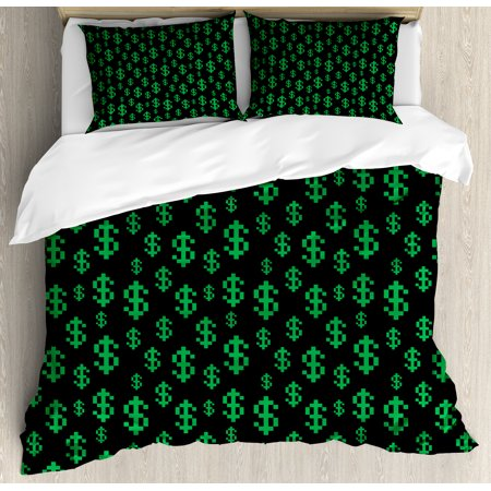 Money Queen Size Duvet Cover Set, Pixel Art Inspirations in Eighties Style Dollar Sign Banking Business, Decorative 3 Piece Bedding Set with 2 Pillow Shams, Dark Green Lime Green, by Ambesonne