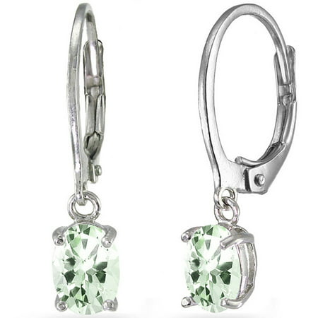 Green Amethyst Sterling Silver 7mm x 5mm Oval Dangle Leverback (5mm Leverback Earrings)