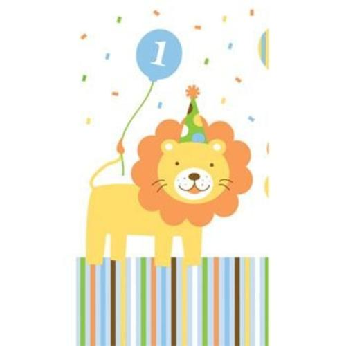 Baby Animals 1st Birthday Boy Table Cover (each) - Party Supplies