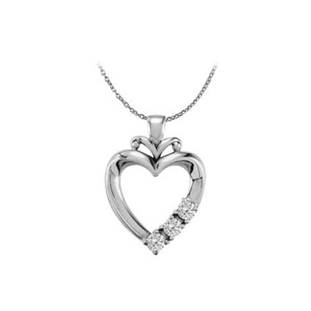 925 Sterling Silver Three Stone CZ Family Heart Pendant - image 1 de 2