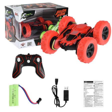 ALLCACA 1:28 RC Stunt Cars 2.4GHz Remote Control Off-road Car High-speed Racing Vehicle with 360° Rotation and 180° Flip, Red