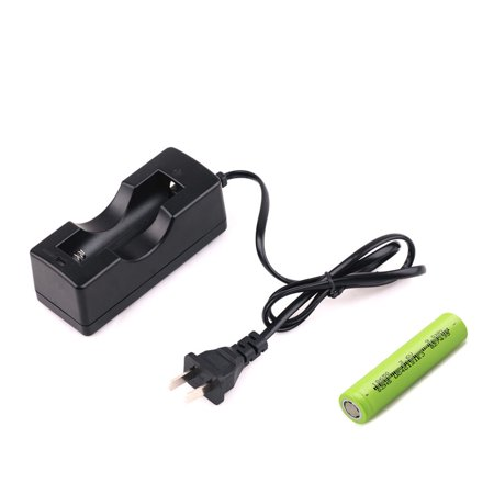 2600mAh 3.7v Rechargeable 18650 Battery + 4.2V USA Stanard Single Slot Charger For Flashlight Laser