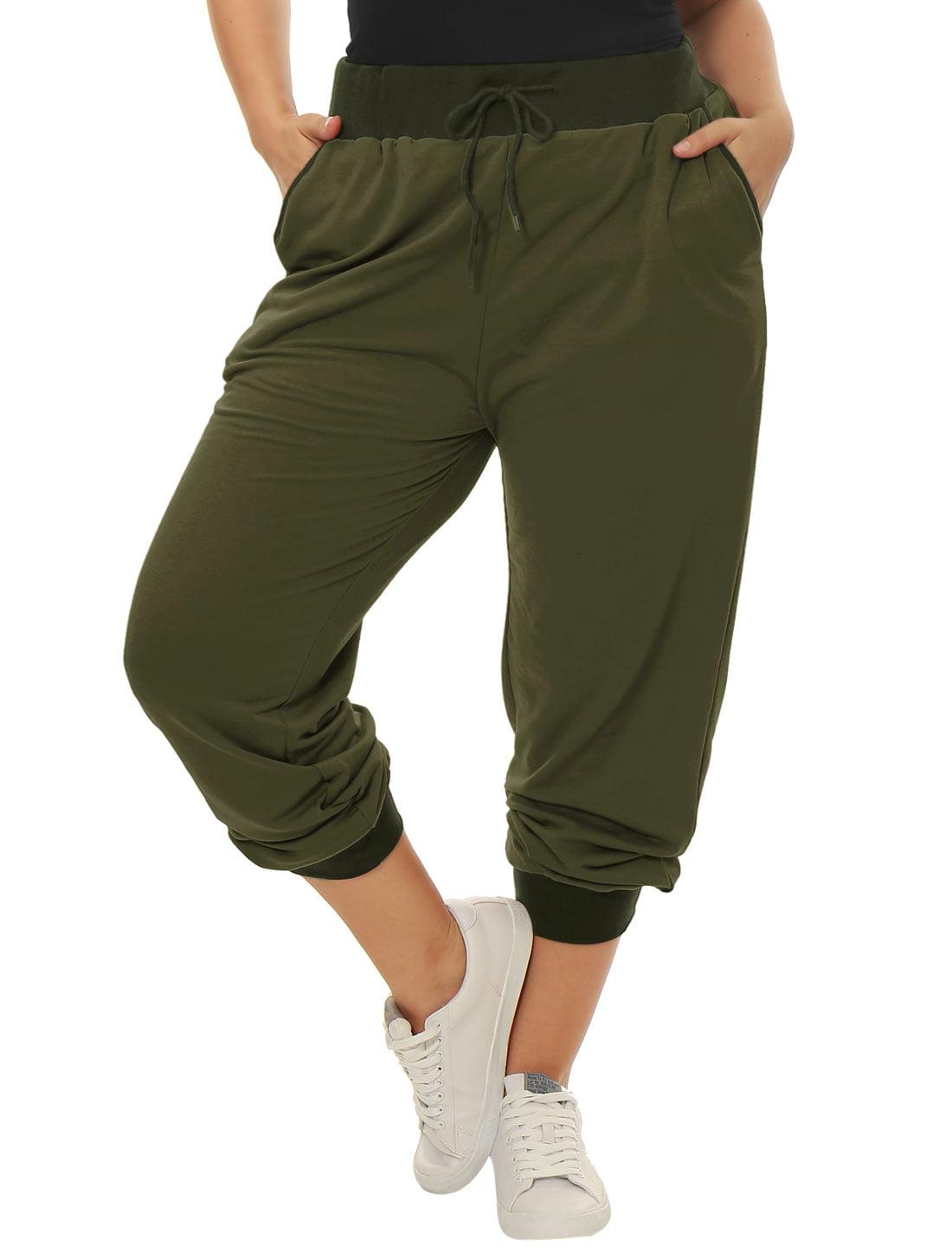 Unique Bargains Women's Plus Size Contrast Color Drawstring Waist Jogger Pants