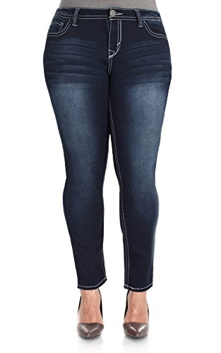 WallFlower Juniors Plus Size Classic Sassy Skinny Jeans in Delta Tint Size 24