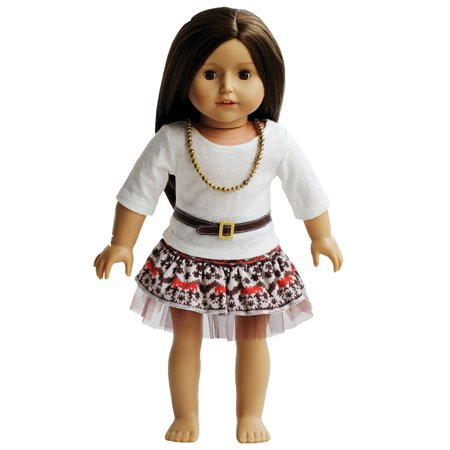 Vintage Dress with Belt and Necklace - 18 inch Doll Outfit