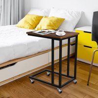 C Shaped Side Table C Table End Tables Laptop Tablet Table Desk with Rolling Casters, For Living Room (24in High)