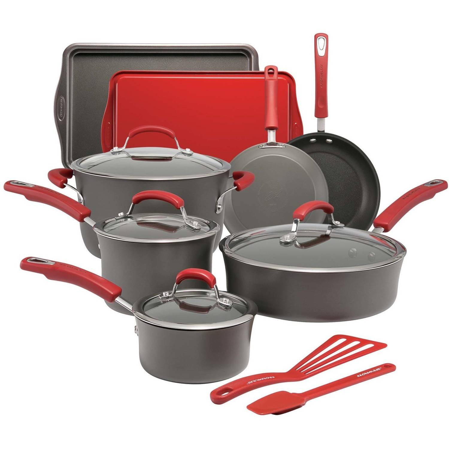 Rachael Ray Hard-Anodized Nonstick 14-Piece Cookware Set, Grey with Red Handles