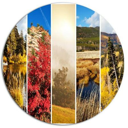 Design Art Autumn In Sierra Nevade Collage Photographic Print On Metal