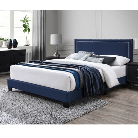 DG Casa Ocean Upholstered Platform Bed Frame with Nailhead Trim Headboard and Full Wooden Slats, Queen Size in Blue Velvet Style Fabric Locker Room Style Bed