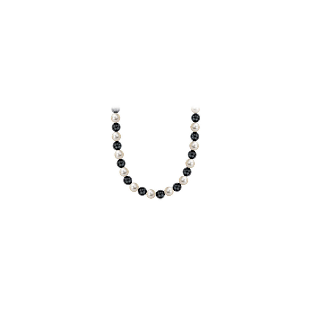 Black Onyx and Mother of Pearl 16 Inch Long Necklace in Rhodium Treated Sterling Silver 10MM - image 3 de 3