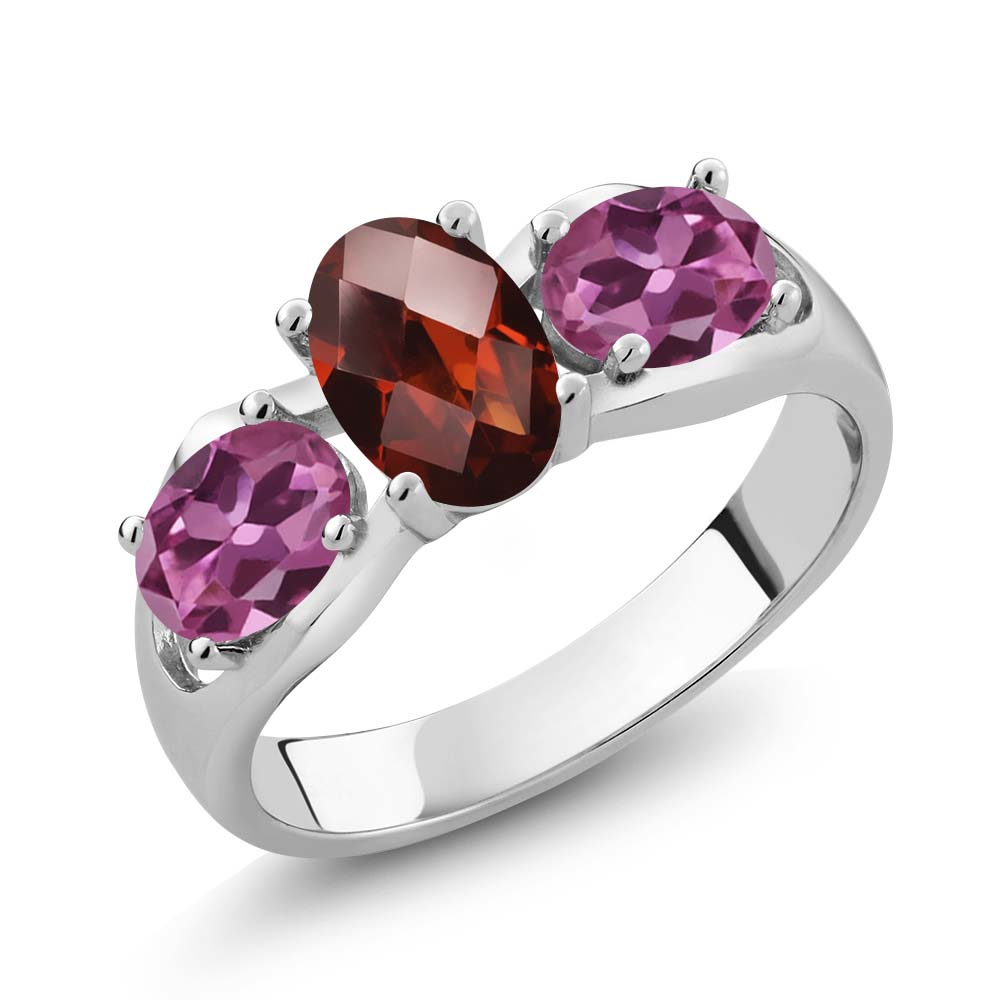 1.80 Ct Oval Checkerboard Red Garnet Pink Tourmaline 14K White Gold Ring by