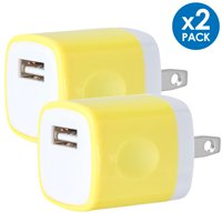 Universal USB Wall Charger Power Adapter Plug 1A 5V Travel Charger USB Charging Brick AC Power Adapter For Phone 6 / 7 / 8 / X / Xs / Xs Max / 11 / 11 Pro Max, Galaxy S8/S9/S10, LG, Google [2-PACK]