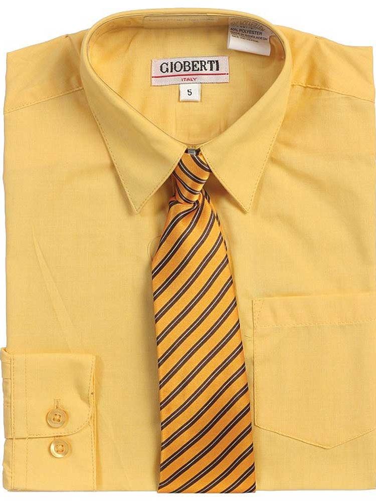 Yellow Button Up Dress Shirt Banana Yellow Striped Tie Set Boys 5-18