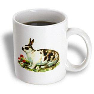 3dRose Vintage Drawing Of A Spotted Bunny Among Flowers, Ceramic Mug, 11-ounce