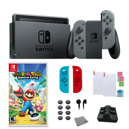Nintendo Switch in Gray with Mario+Rabbids Kingdom Battle Game and Accessories Bundle