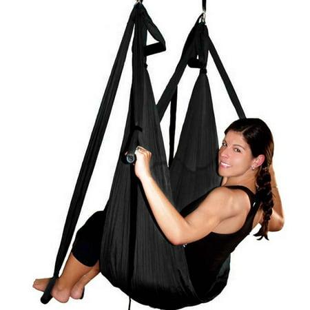 Image Yoga swing Yoga Trapeze Sling Inversion hamac volant Antigravity Noir