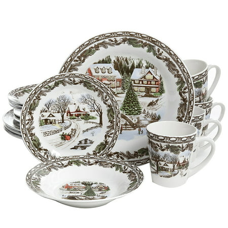 Christmas Toile 16 pc Dinnerware Set - Decorated - Fine Ceramic (Halloween Plates Ceramic)