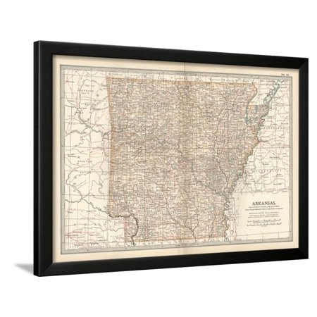Plate 86. Map of Arkansas. United States Framed Print Wall Art By Encyclopaedia (Arkansas Antique Map)