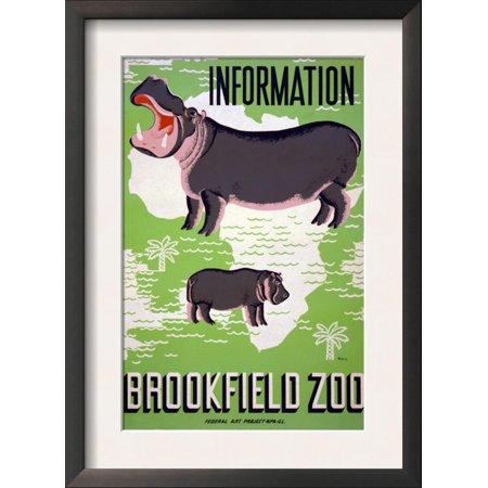Brookfield Zoo Poster - Brookfield, Il - Hippopotamus, c.1938 Framed Art Print Wall (Visit Brookfield Zoo)