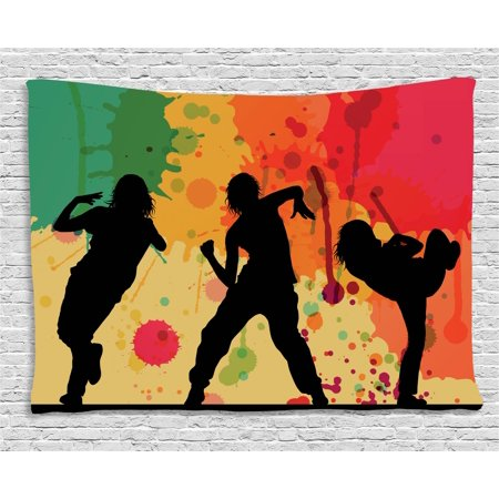 Hip Hop Tapestry, Girl Dancer Crew Silhouettes Performing Theme Splashed Effect Colorful Background, Wall Hanging for Bedroom Living Room Dorm Decor, 60W X 40L Inches, Multicolor, by Ambesonne - Hip Hop Themes