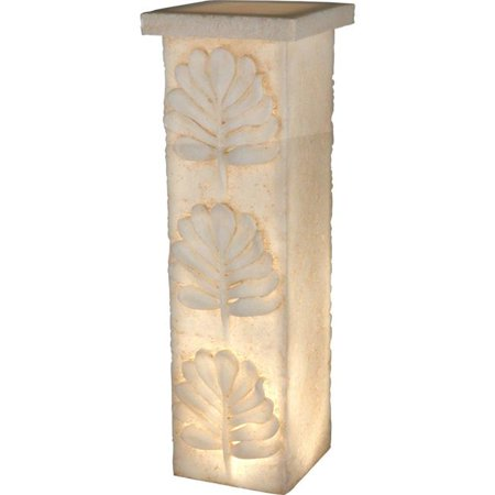 Benzara BM181051 Decorative Polyresin Pedestal with Embossed Leaf Design, Cream