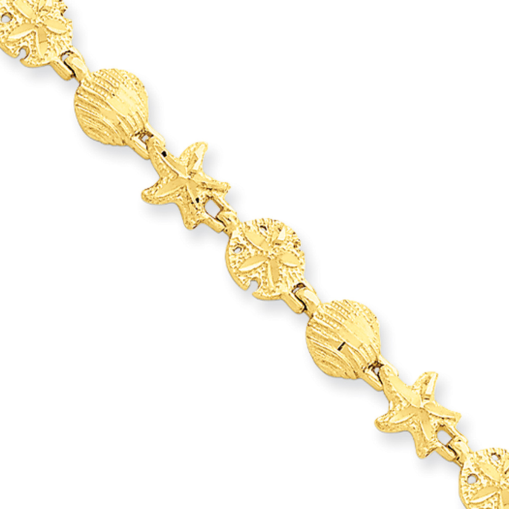 14k Yellow Gold Starfish, Shell and Sand Dollar Bracelet 7 Inch by Black Bow Jewelry Company
