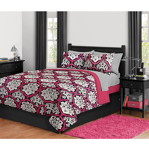 Dotted Damask Bed In A Bag, Twin