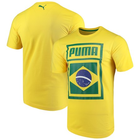 Brazil National Team Puma Forever Football Country Cotton T-Shirt - Yellow