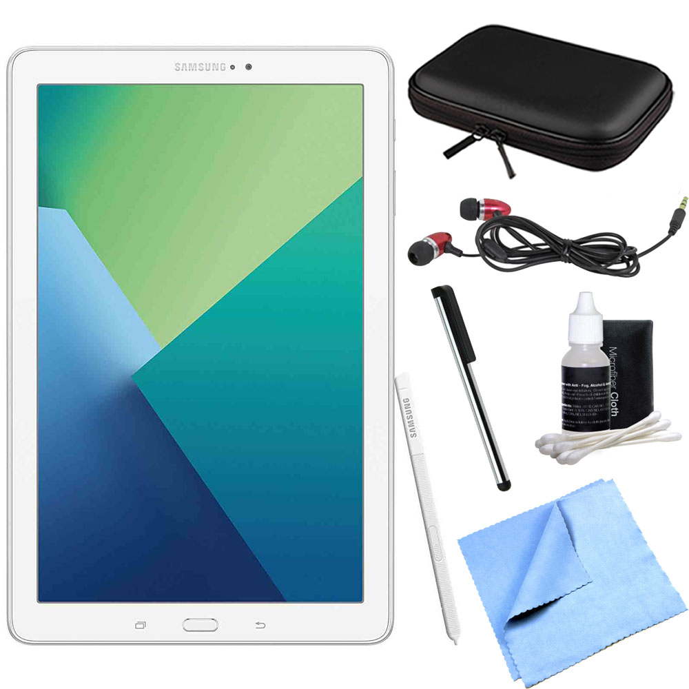 Samsung Galaxy Tab A 10.1 Tablet PC White w/ S Pen Bundle includes Tablet, Microfiber Cloth, Cleaning Kit, Stylus Pen with Clip Case with Zipper for Tablets and Metal Ear Buds