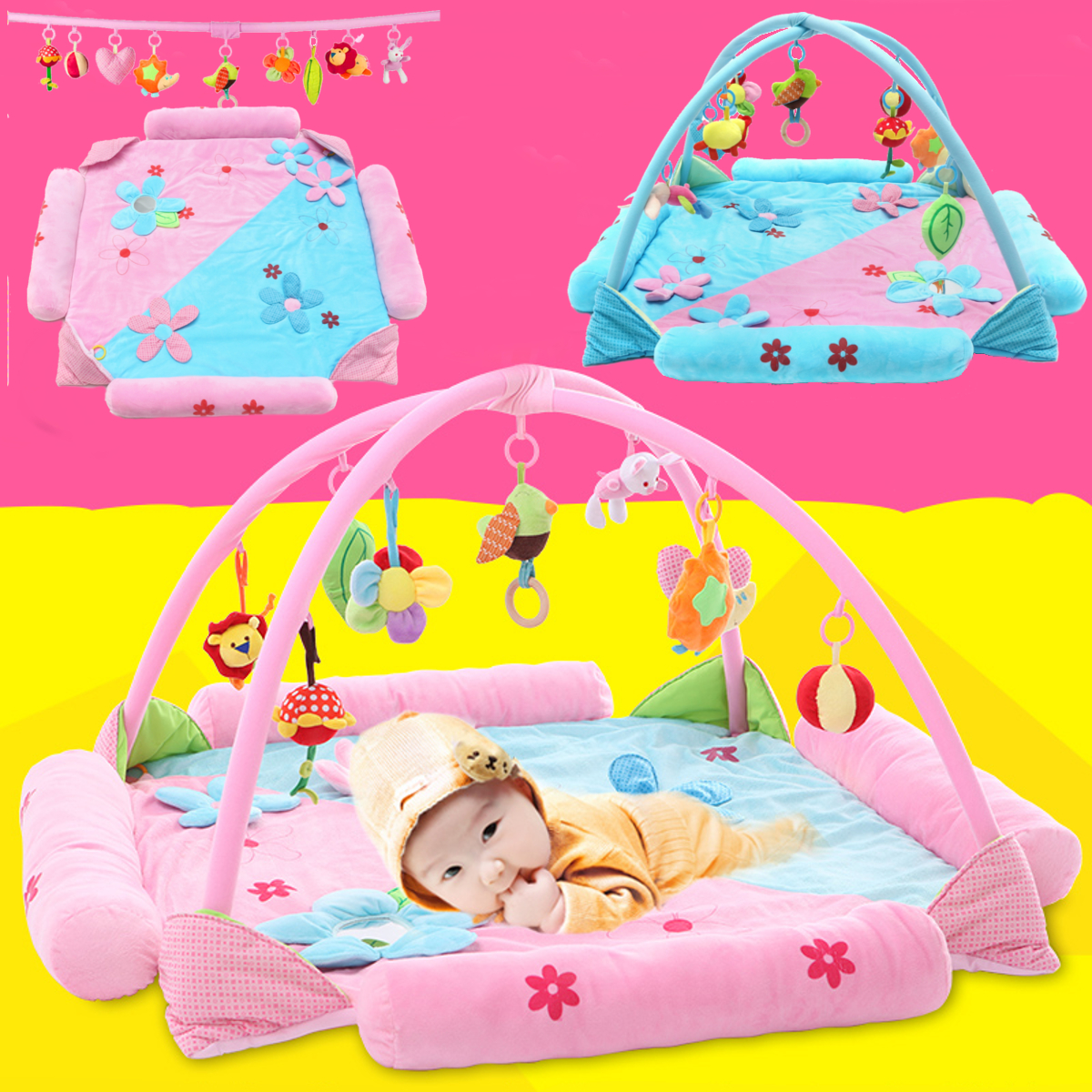 Newborn Kids Baby Musical Play Mat Activity Gym Playmat Soft Mat with Hanging Toys,Infant Toddler Toy/Gift,Development Station Toys