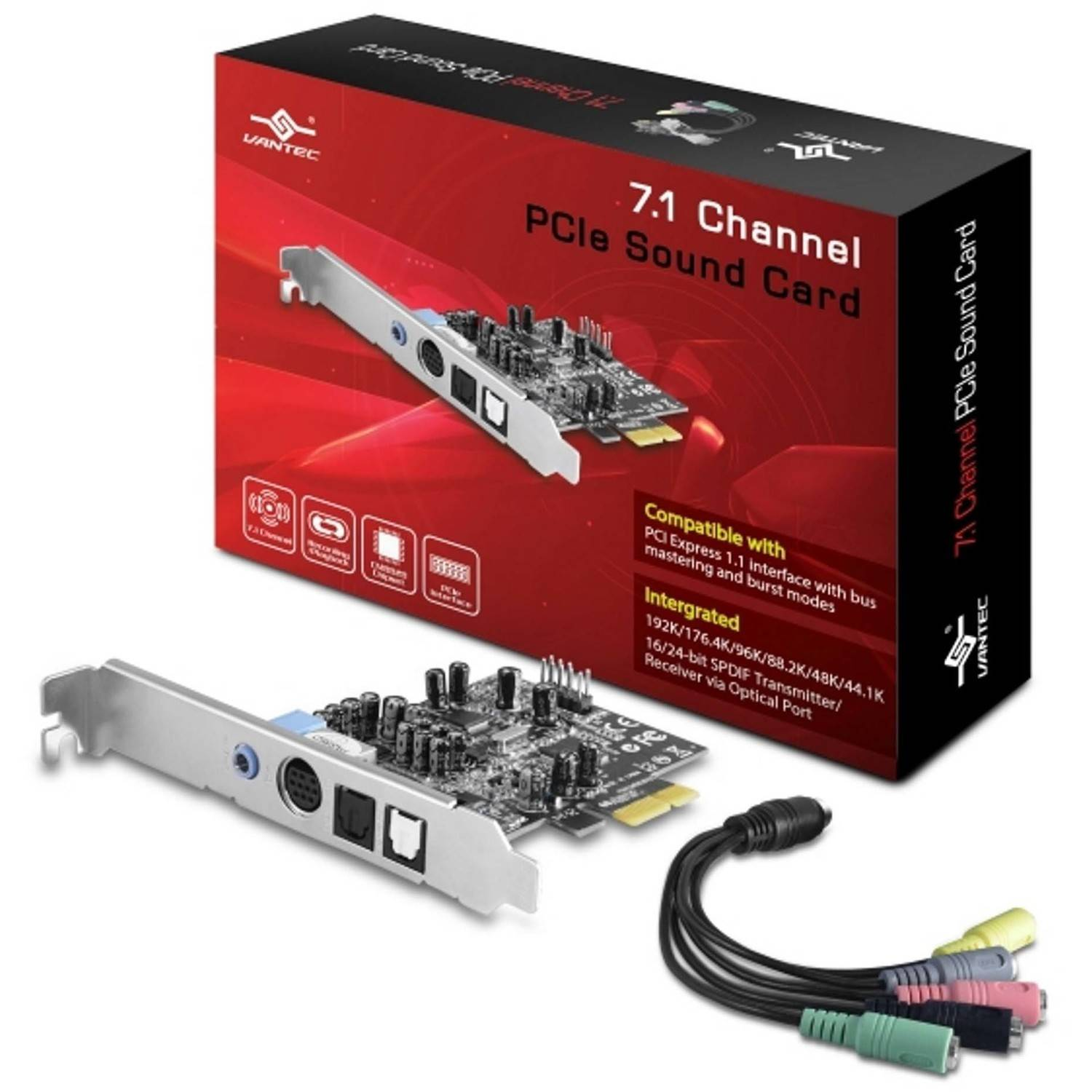 Vantec UGT-S220 7.1-Channel PCIe Sound Card, Silver