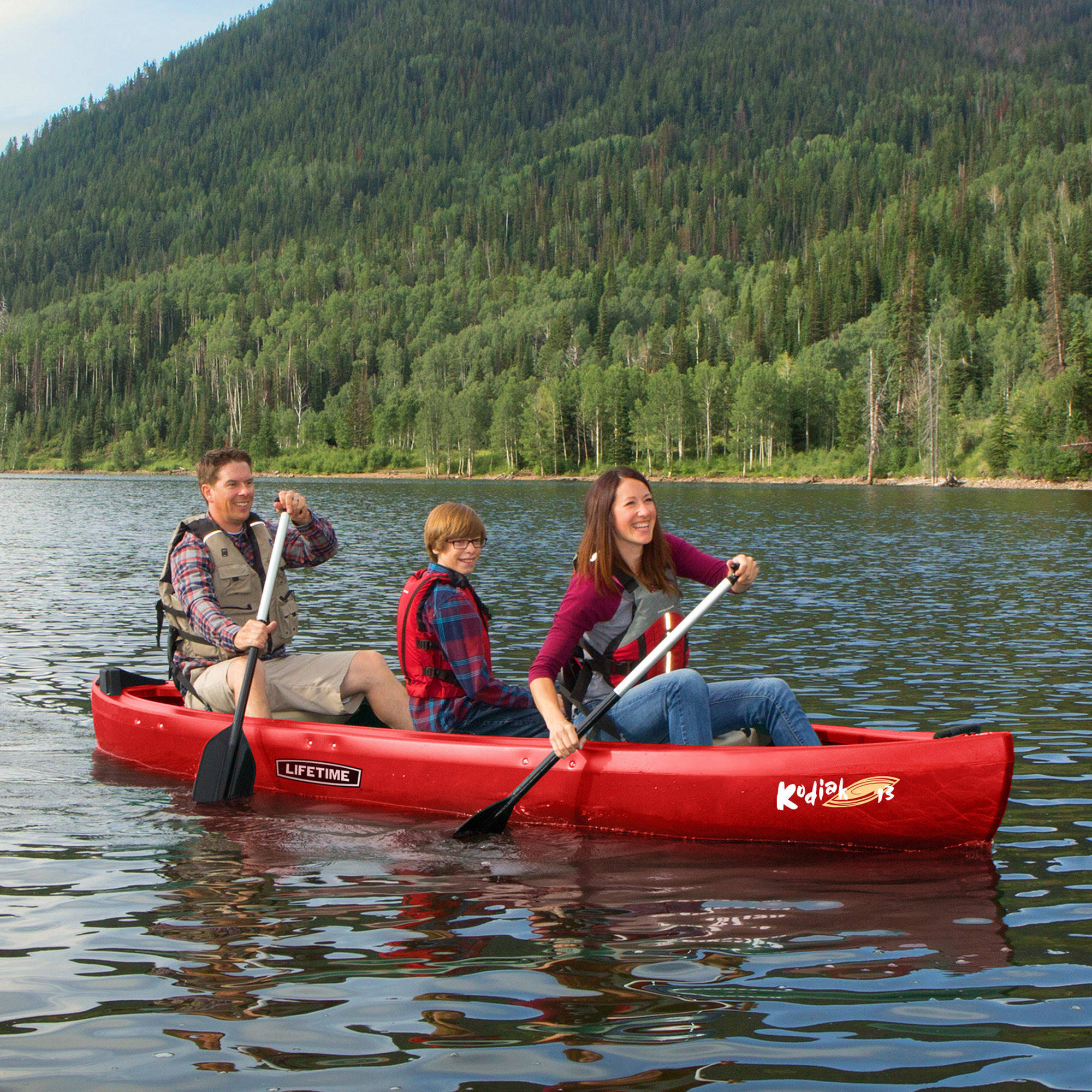 Lifetime 13' Kodiak Canoe, Red with 2 Bonus Canoe Paddles