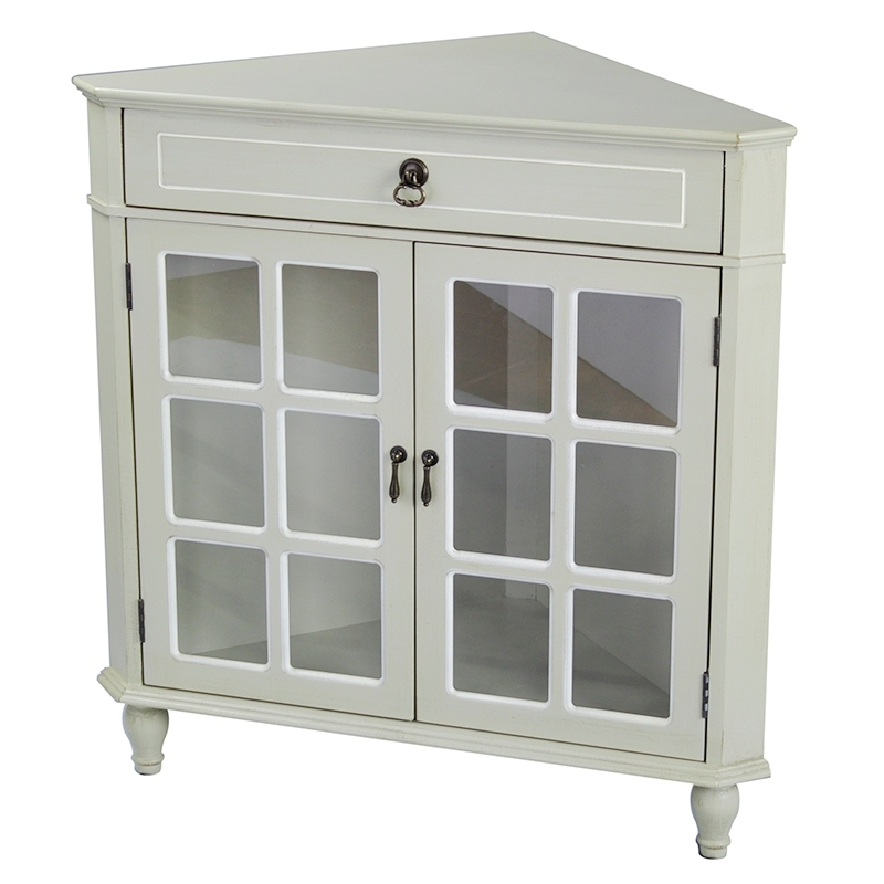 1-Drawer, 2-Door Corner Cabinet w/Paned Glass Inserts - MDF, Wood Clear Glass