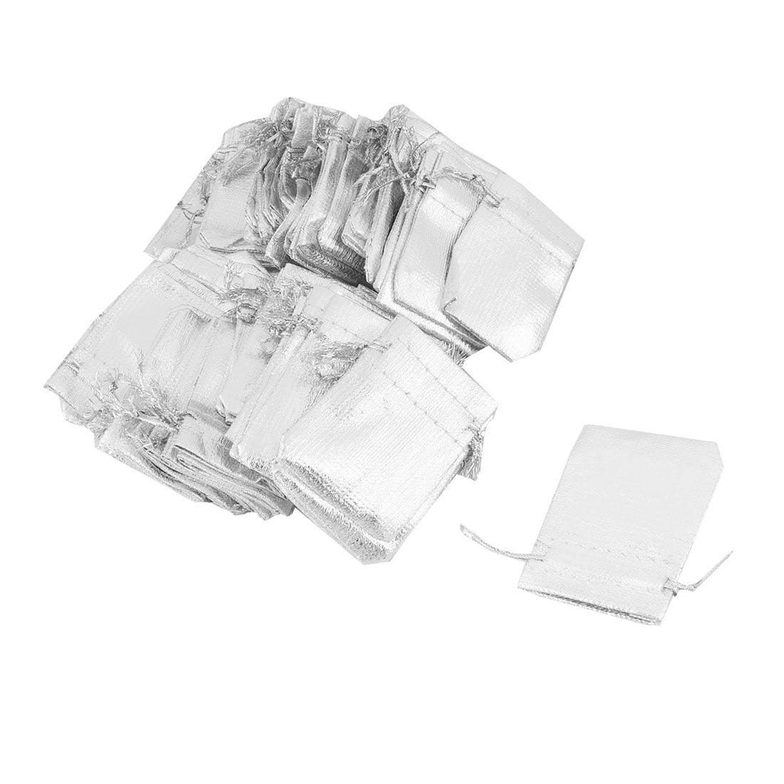 Lady Plastic Gift Jewelry Ring Holder Drawstring Bag Silver Tone 7cm x 5cm 50pcs - image 4 of 4
