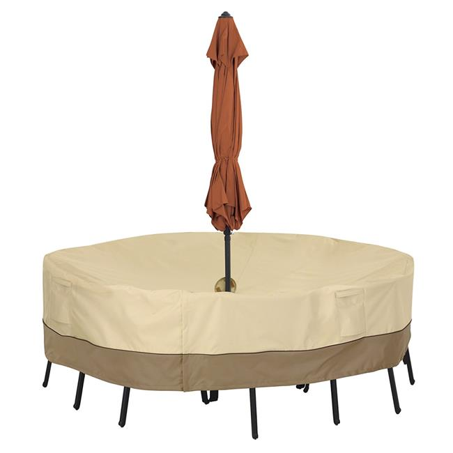 Round Table & Chair Set Cover With Umbrella Hole - Large, Brown