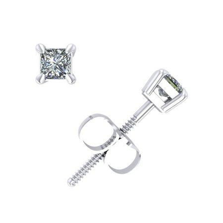 0.25Ct Princess Cut Diamond Basket Stud Earrings 14k White Gold Prong Set K (Prong Set Full Cut)