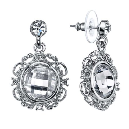 - Silver-Toned Crystal Glace Round Vintage Costume Drop Earrings