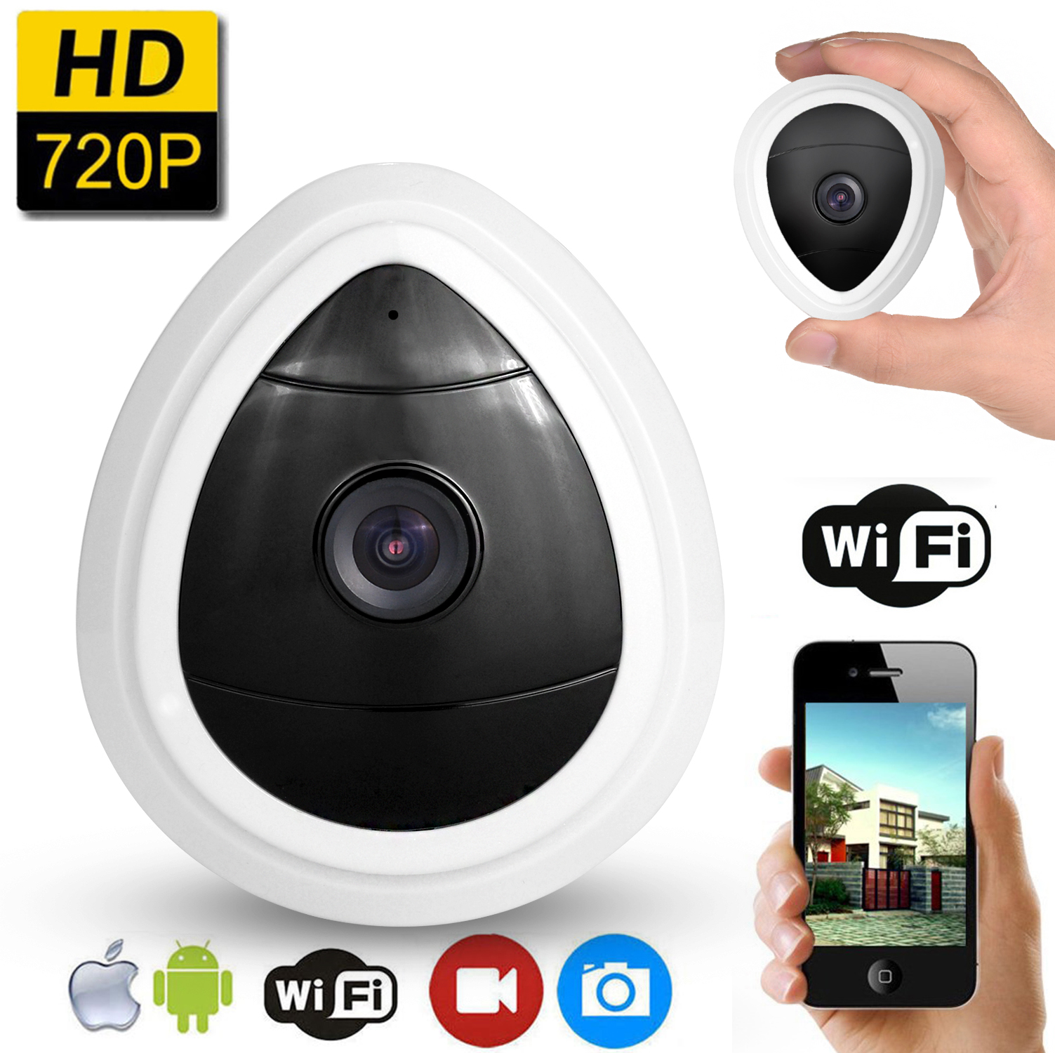 Mini Wifi IP Camera,AGPtek 720P HD Home WiFi Wireless Security Surveillance Camera System