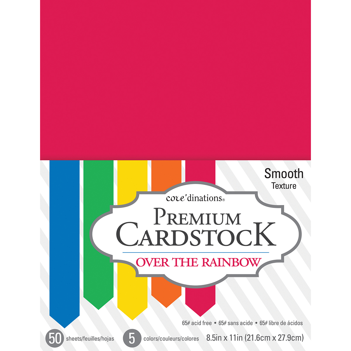 """Core'dinations Value Pack Smooth Cardstock 8.5"""" x 11"""" 50/Pkg - Over The Rainbow"""