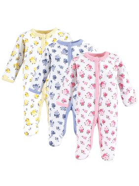 Luvable Friends Baby Girl Cotton Sleep N Play, 3-Pack
