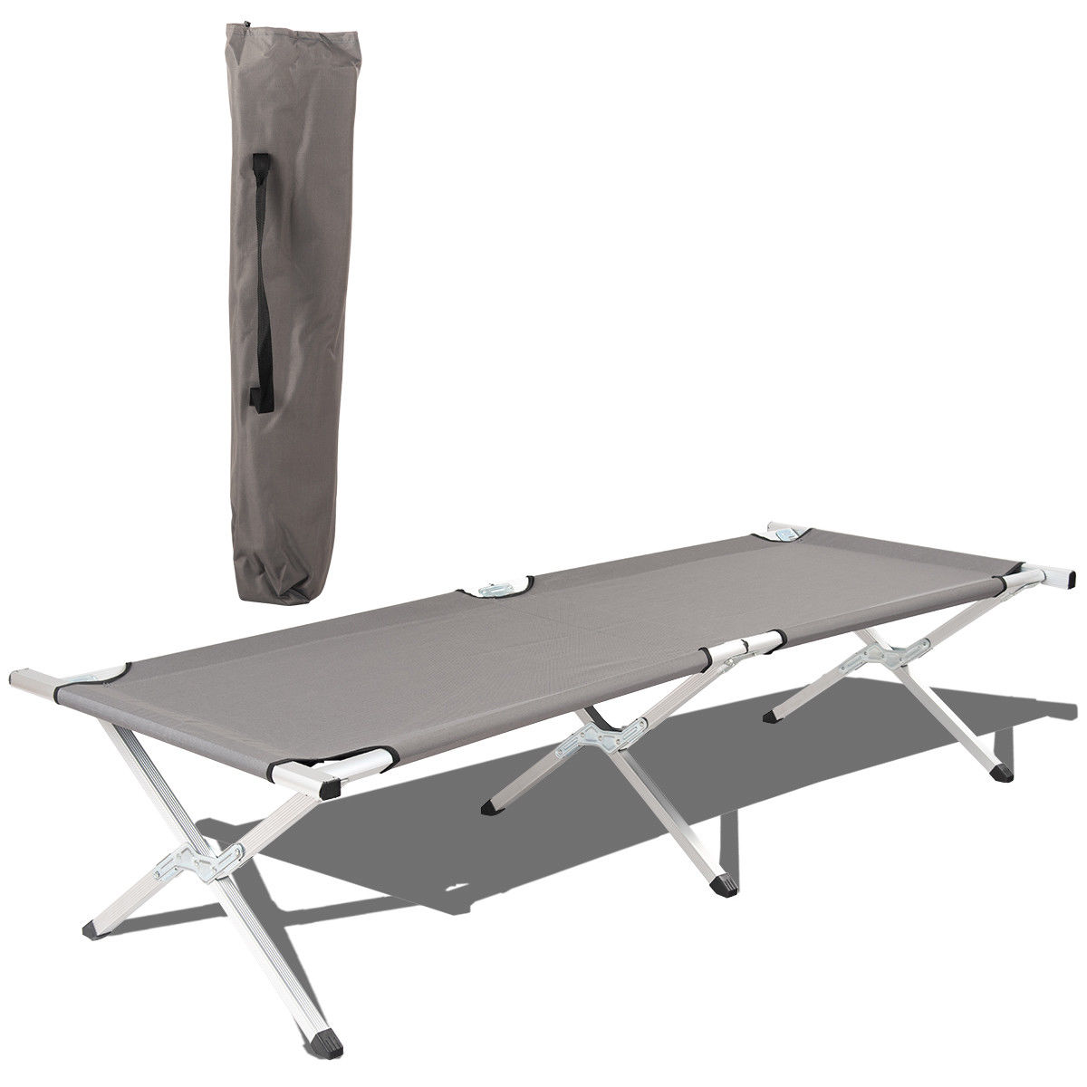 Costway Gray Foldable Camping Bed Portable Military Cot Hiking Travel w/ carrying Bag