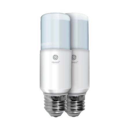 36457 Reveal LED Bright Stik Light Bulb with Medium Base, 10-Watt, 2-Pack, GE reveal led bulbs illuminate a color enhanced spectrum of light By GE Lighting Ship from US