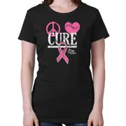 Breast Cancer Awareness Shirt | Peace Cure Love Pink Ribbon Ladies T-Shirt