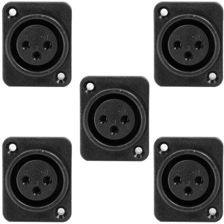 Black Mounting Pole - Seismic Audio 5 Pack of 3 Pole XLR Female Vertical PCB Mounts - Fits D Series Pattern Holes Black - SAPT229-5Pack