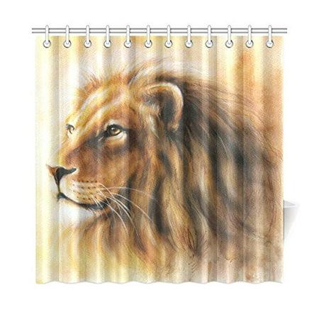 MKHERT Lion Shower Curtain Home Decor Bathroom 66x72 Inch