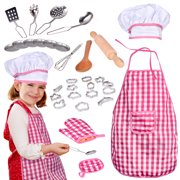 32 PCs Chef Dress Up Clothes for Little Girls, Pretend Play Kitchen Accessories Set for Kids, Cooking and Baking Tools, Birthday Gifts Toys for Girls 3-6 years F-224