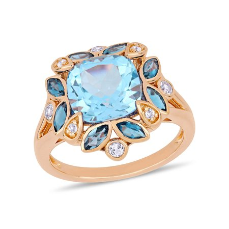 4-4/5 Carat T.G.W. Sky Blue Topaz, London Blue Topaz and White Topaz Rose-Plated Silver Floral Cocktail Ring